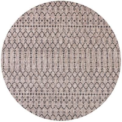 Ourika Light Gray/Black 5 ft. Round Moroccan Geometric Textured Weave Indoor/Outdoor Area Rug