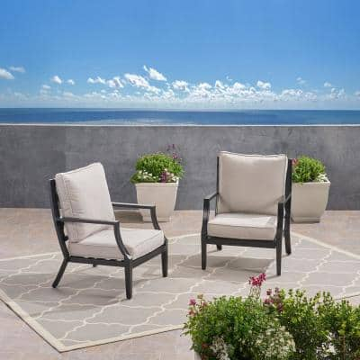 San Diego Matte Black Removable Cushions Aluminum Outdoor Lounge Chair with Light Beige Cushions (2-Pack)