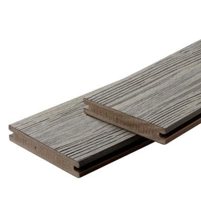 Apex 1 in. x 6 in. x 8 ft. Alaskan Driftwood Grey PVC Grooved Deck Boards (2-Pack)