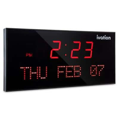 Oversized Digital LED Clock / Calendar - Red (22 in.)