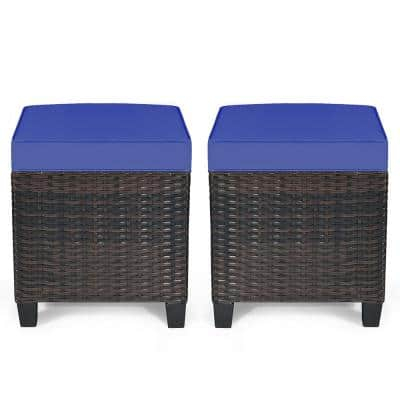 Brown Wicker Outdoor Ottoman with Navy Cushion