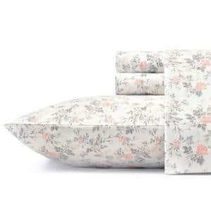 Rosalie 4-Piece Light Pastel Gray Floral Flannel King Sheet Set