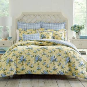 Cassidy 7-Piece Yellow Floral Cotton Full/Queen Comforter Set