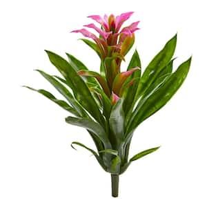 Indoor 15 in. Bromeliad Artificial Flower (Set of 4)