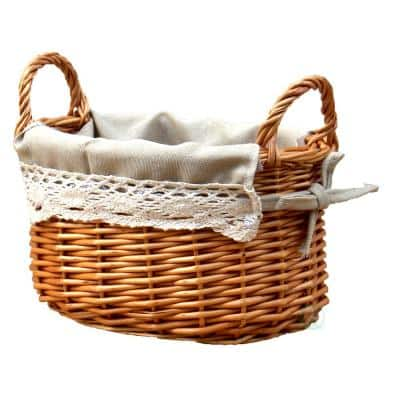 8.7 in. W x 9.5 in. D x 4.9 in. H Wicker Small Basket with Lace Trim