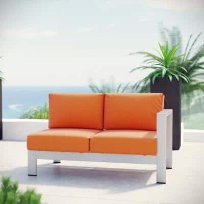 Shore Aluminum Right Arm Outdoor Sectional Chair Loveseat in Silver with Orange Cushions