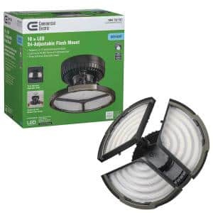 Spin Light 10 in. High Output 4000 Lumens Black LED Flush Mount Ceiling Light with 3 Adjustable Heads 5000K
