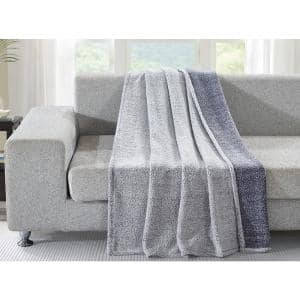 Blue Back Print Polyester Sherpa Throw Blanket