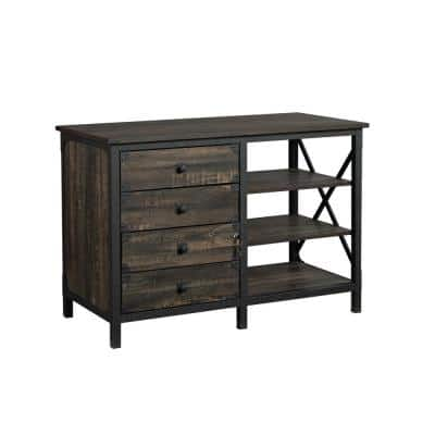 Steel River Carbon Oak Accent Cabinet with File Storage and Metal Frame