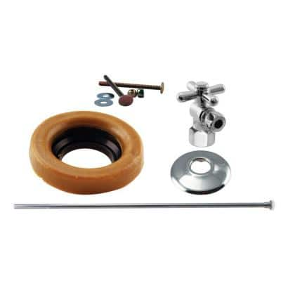 1/2 in. IPS Cross Handle Angle Stop Toilet Installation Kit with Brass Supply Line in Polished Chrome