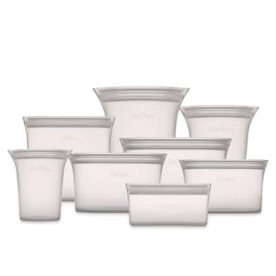 Reusable Silicone 8-Piece Set - 3-Sizes of Cups, 3-Sizes of Dishes, 2-Sizes of Bags, Zippered Storage Containers in Gray