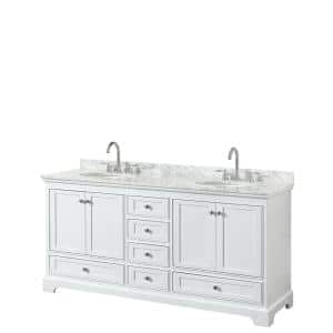 Wyndham Collection Deborah 72 In W X 22 In D Vanity In White With Marble Vanity Top In Carrara White With White Basins Wcs202072dwhcmunsmxx The Home Depot