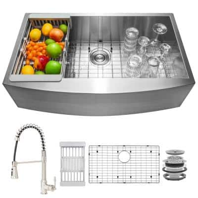 Handmade All-in-One Farmhouse Stainless Steel 33 in. x 22 in. Single Bowl Kitchen Sink Spring Neck Faucet, Accessories