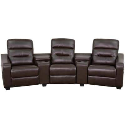 120 in. Brown Faux Leather 3-Seater Bridgewater Reclining Sofa with Square Arms