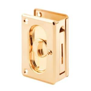 3-3/4 in, Polished Brass, Pocket Door Privacy Lock with Pull