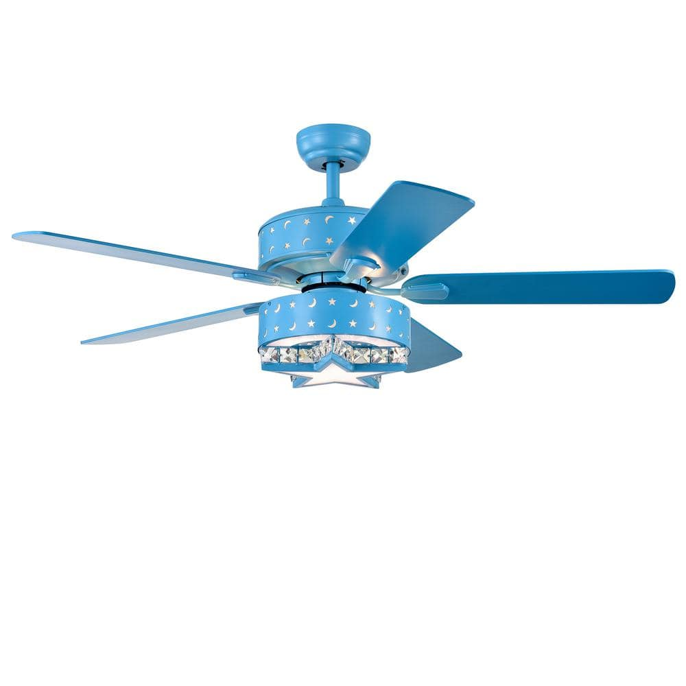Warehouse Of Tiffany Funder 52 In Indoor Star Blue Remote Controlled Ceiling Fan With Light Kit Cfl8404remoblue The Home Depot