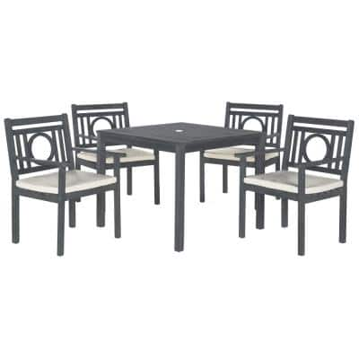 Montclair Ash Gray 5-Piece Wood Outdoor Dining Set with Beige Cushions