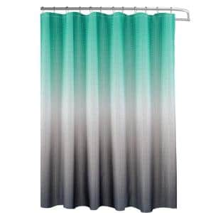 Ombre Turquoise/Grey 70 in. x 72 in. Texture Printed Shower Curtain Set with Beaded Rings
