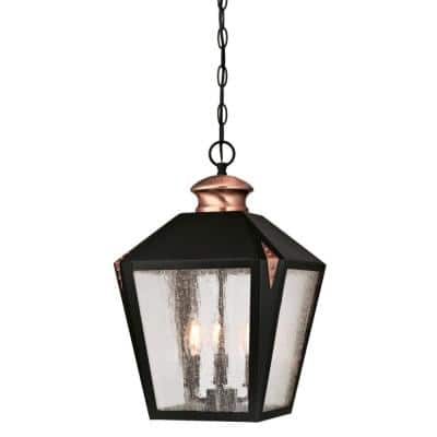 Valley Forge 3-Light Matte Black with Washed Copper Accents Outdoor Hanging Pendant