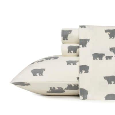 Bear Family 4-Piece White and Gray Graphic Flannel Queen Sheet Set