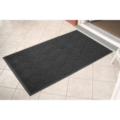 Aqua Shield Diamonds 35 in. x 59 in. PET Polyester Door Mat Charcoal
