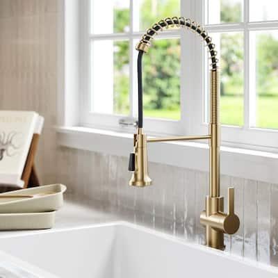 Britt Single Handle Pull Down Sprayer Kitchen Faucet in Spot Free Antique Champagne Bronze