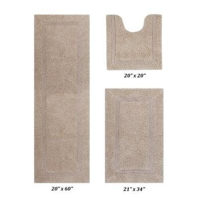 Lux Collection Sand 20 in. x 20 in., 21 in. x 34 in., 20 in. x 60 in. 100% Cotton 3-Piece Bath Rug Set