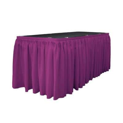14 ft. x 29 in. Long Magenta Polyester Poplin Table Skirt with 10 L-Clips