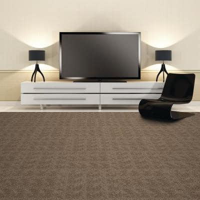 Peel and Stick First Impressions Taupe Hobnail Texture 24 in. x 24 in. Commercial Carpet Tile (15 Tiles/Case)
