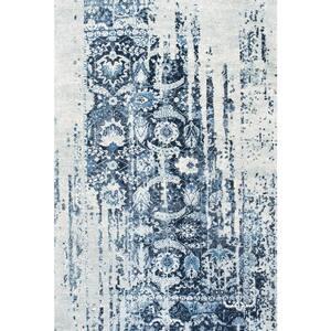 Ernestina Distressed Flourish Blue 8 ft. x 10 ft. Area Rug