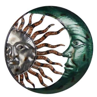 20 Inch Steel Sun And Moon Decorative Wall Art