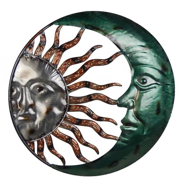 20 Inch Steel Sun And Moon Decorative, Large Outdoor Sun Wall Art