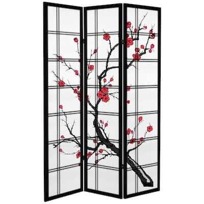 6 ft. Black Canvas Cherry Blossom 3-Panel Room Divider