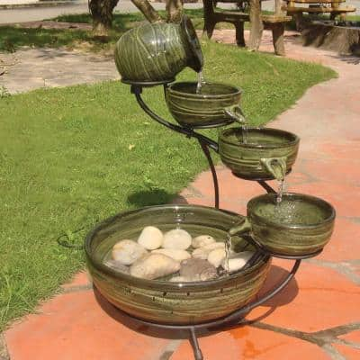 Ceramic Solar Cascade Fountain with Green Bamboo Finish