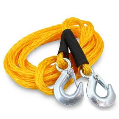 1 in. x 14 ft. Auto Car ATV Emergency Poly Braid Tow Rope Strap with Hooks (4,500 lbs. Capacity)