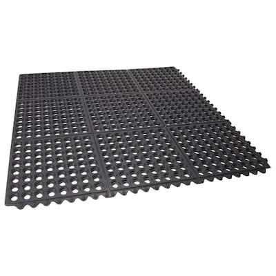 Durable Anti-Fatigue Interlocking Commercial Floor Mat 36 in. x 36 in. Rubber Floor Mat