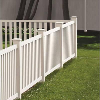 5 in. x 5 in. x 7 ft. White Vinyl Fence Corner Post
