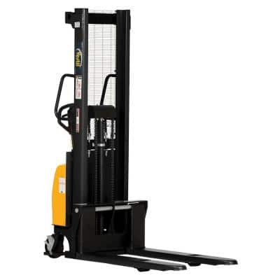 2,000 lb. Capacity 63 in. High Combination Hand Pump and Electric Stacker with Fixed Forks Over Fixed Support Legs