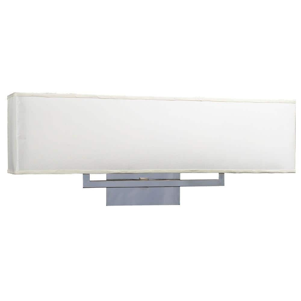 Plc Lighting 3 Light Polished Chrome Bath Vanity Light With Off White Fabric Shade Cli Hd18198pc The Home Depot