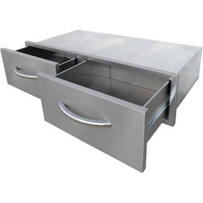 39.25 in. Wide Outdoor Kitchen Stainless Steel 2-Drawer Horizontal Storage