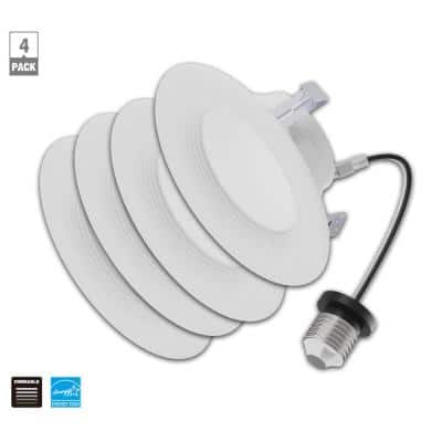 4 in. 3000K Color Temperature Integrated LED White Recessed Trim Baffle (4-Pack)