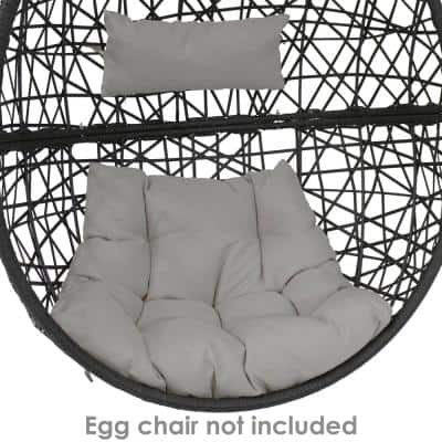 28 in. W x 27 in. H Indoor/Outdoor Replacement Seat and Headrest Cushion in Gray for Caroline Egg Lounge Chair