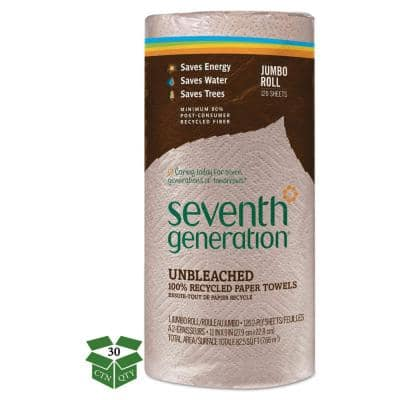 Natural Unbleached 100% Recycled Paper Towel Rolls 11 x 9in. (120 Sheets per Roll, 30 Rolls per Carton)