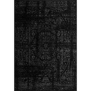 Arlena Distressed Persian Medallion Black 3 ft. x 5 ft. Area Rug