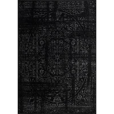 Arlena Distressed Persian Medallion Black 8 ft. x 12 ft. Area Rug