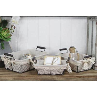 Rectangular Beige Lined Wire Tray with 2-Ears (Set of 3)