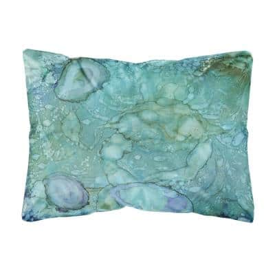 12 in. x 16 in. Multi-Color Lumbar Outdoor Throw Pillow Abstract Crabs and Oysters Fabric Decorative Pillow