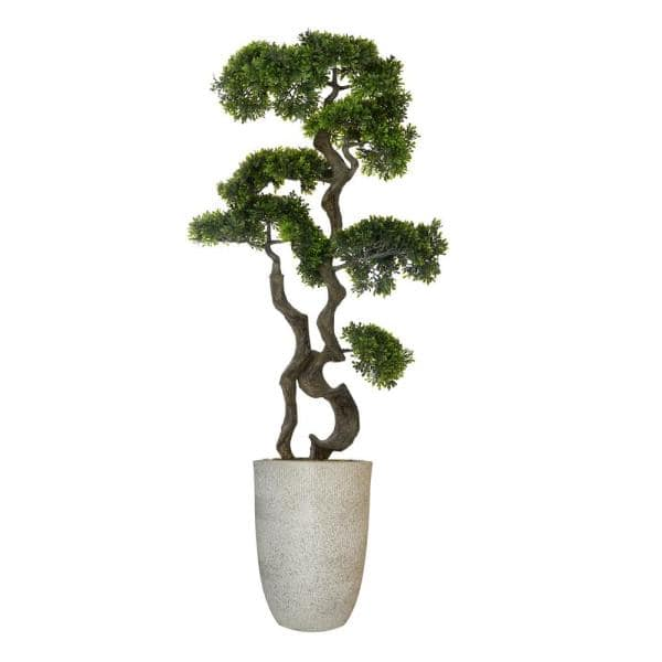 Vintage Home 4 42 Ft Tall Artificial Faux Real Touch Bonsai Tree With Fiberstone Planter Vhx140234 The Home Depot