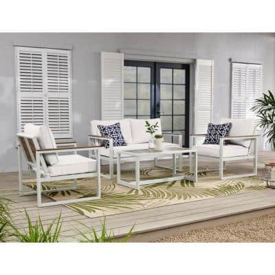 West Park White Aluminum Outdoor Patio Loveseat with CushionGuard Chalk White Cushions