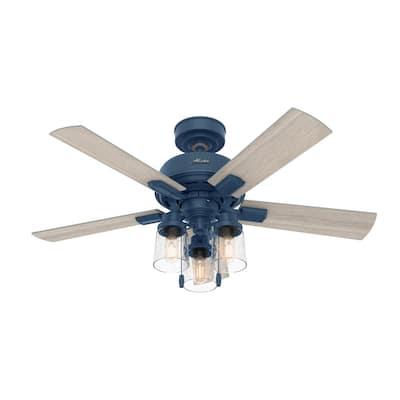 Hartland 44 in. LED Indoor Indigo Blue Ceiling Fan with Light Kit